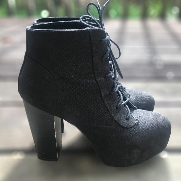 Black Lace Up High Heel Boots | Poshmark